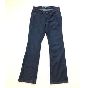 Tommy Hilfiger dark wash low rise boot cut jeans 4